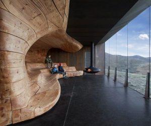 warmth wood and steel skin kitchen the norwegian wild reindeer centre pavilion by snhetta