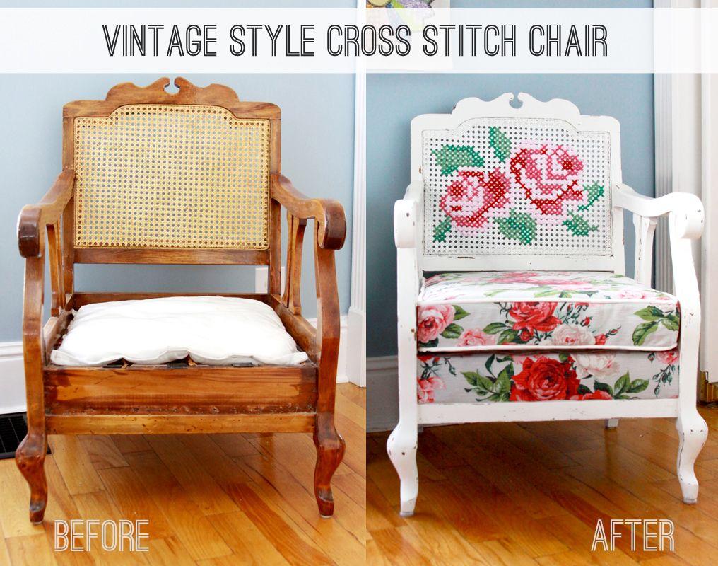 Vintage stule cross stitch chair