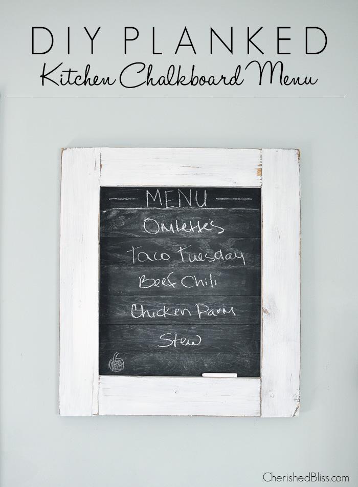 White planked kitchen chalkboard menu