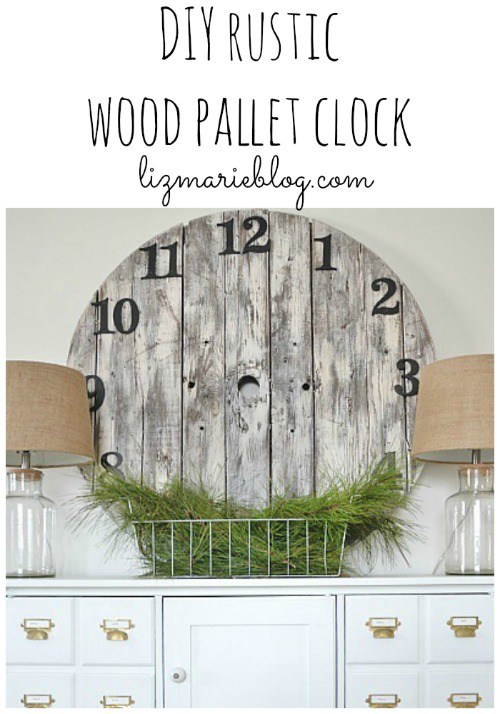 White washed wood pallet clock