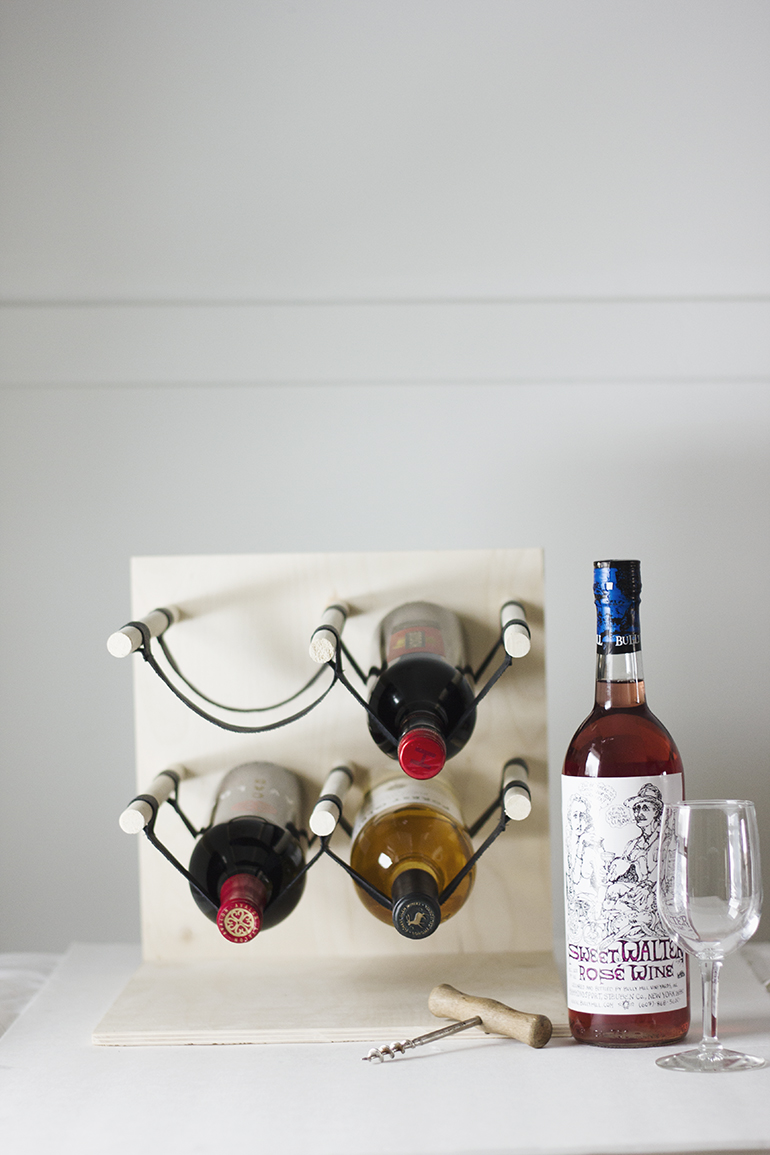 Wood and leather wine rack