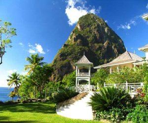 The Arc en Ciel villa above the Caribbean Sea