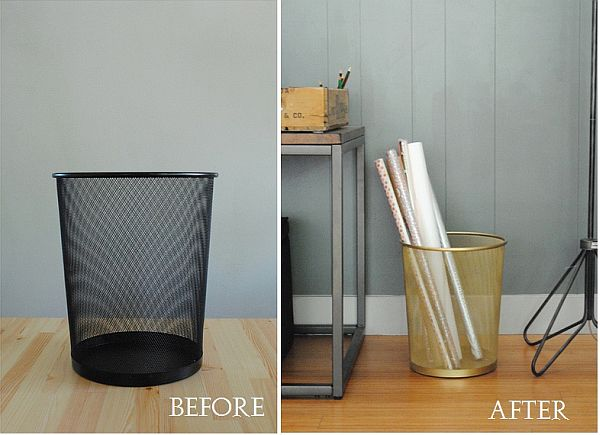 From a Common Wastebasket to a Nice Gold Storage Bin