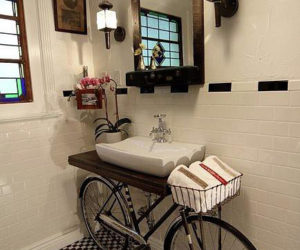 Unconventional bathroom design with built-in bike