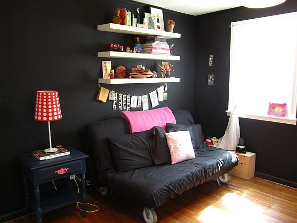 Heather jo 39 s friendly room with accents of pink Room with black walls
