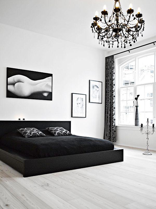 black and white interior duplex bedroom