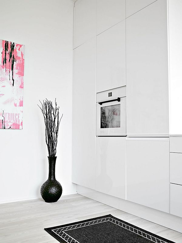 black and white interior duplex kitchen