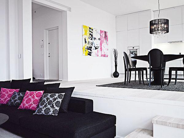 black and white interior duplex living