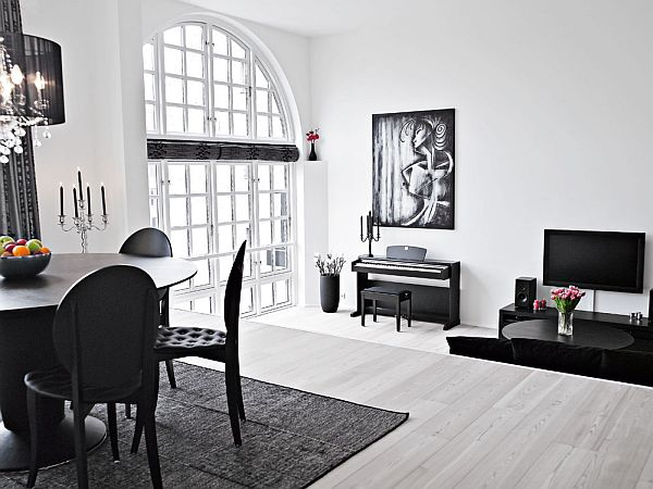 black and white interior duplex living