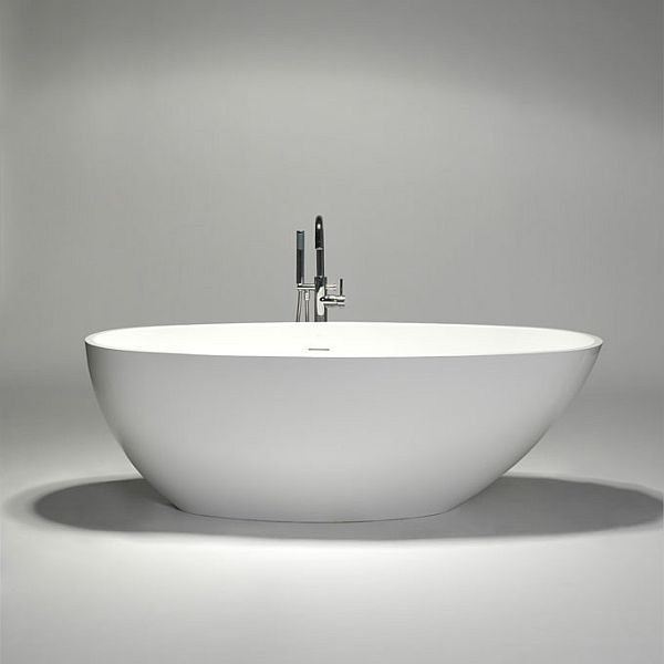 The delicate blustone oval freestanding bathtub