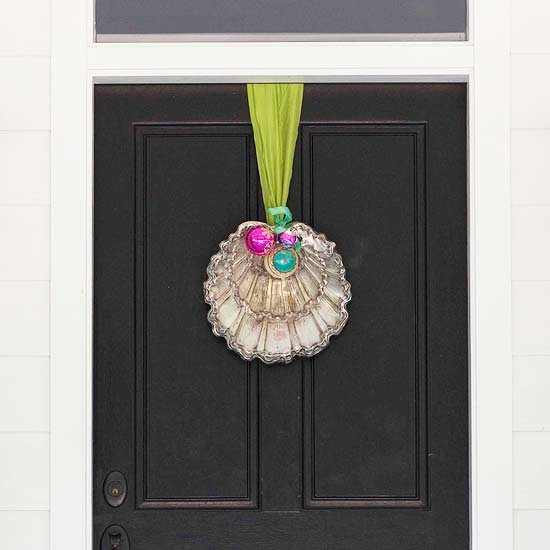 you can also be creative by repurposing items into front door decorations - Modern Christmas Front Door Decorations