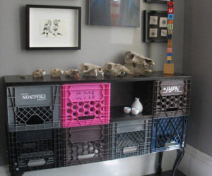 Ingenious Wall Storage Unit Made From Milk Crates