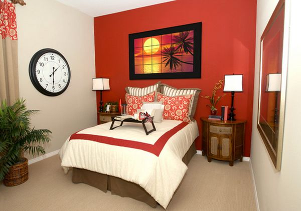 View In Gallery Coordinate A Red Accent Wall With Matching Artwork Bedding And Curtains