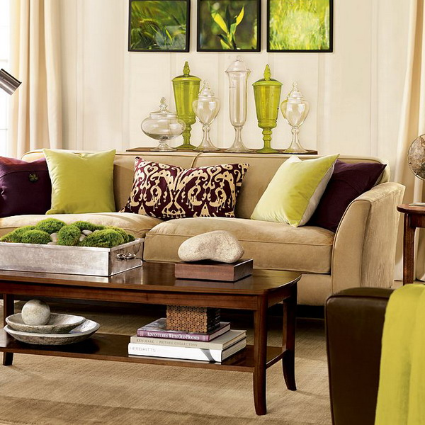 living room with brown sofa.  28 Green And Brown Decoration Ideas
