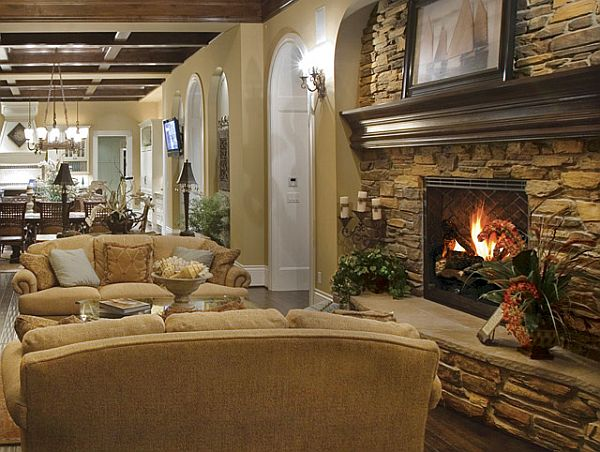 10 rustic living room ideas that use stone - Como decorar una cocina rustica ...