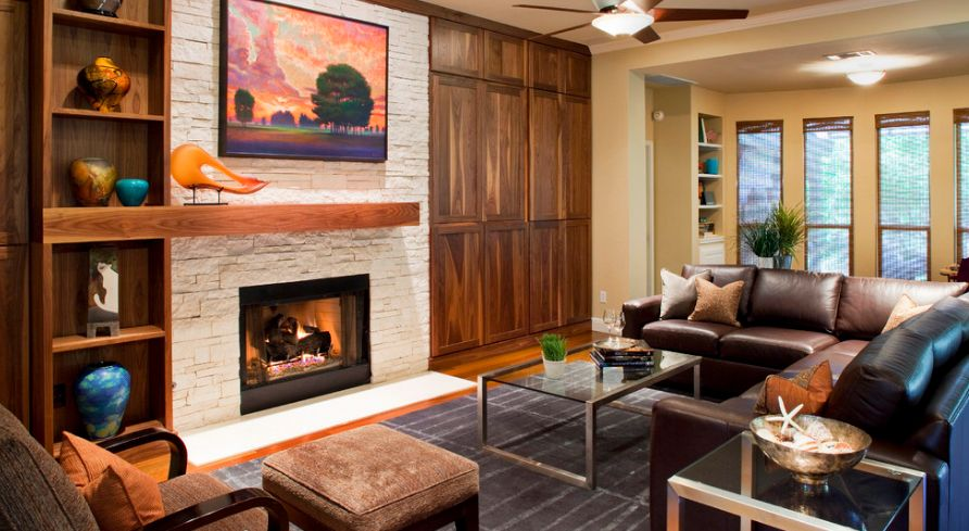 Living Room With Fireplace In Middle 30 fireplace mantel decoration ideas