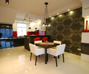 Glossy apartment interior design by Melinda Néder