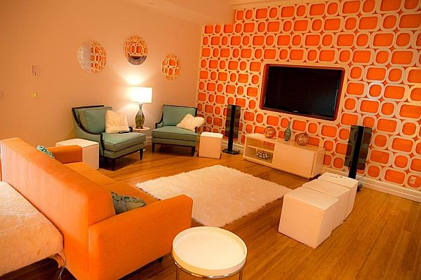 Bright and fun orange room design for Bright wallpaper for living room
