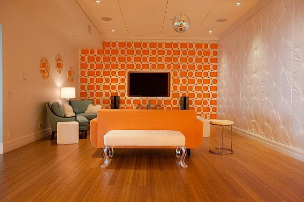 Bright Turquoise Orange Living Room