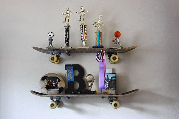 cool skateboard wall shelves ideas | Funny DIY Skateboard Shelves