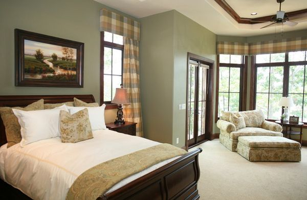 How to decorate a bedroom with green walls Brown and green master bedroom ideas
