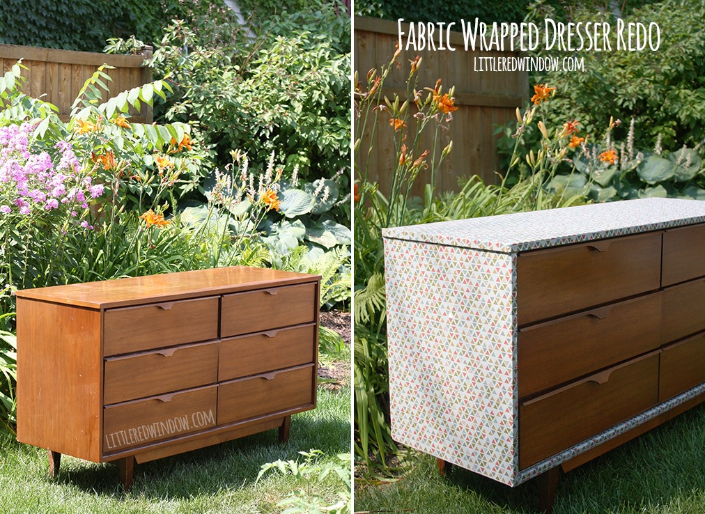 Add some fabric for an old dresser