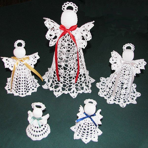 view in gallery - Crochet Angel Christmas Tree Decorations