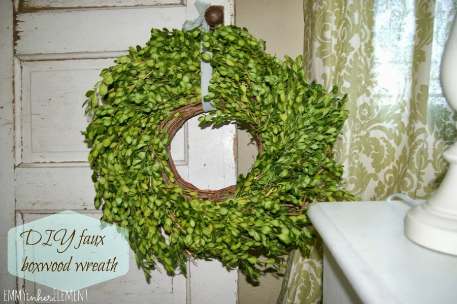 DIY faux boxwood wreath