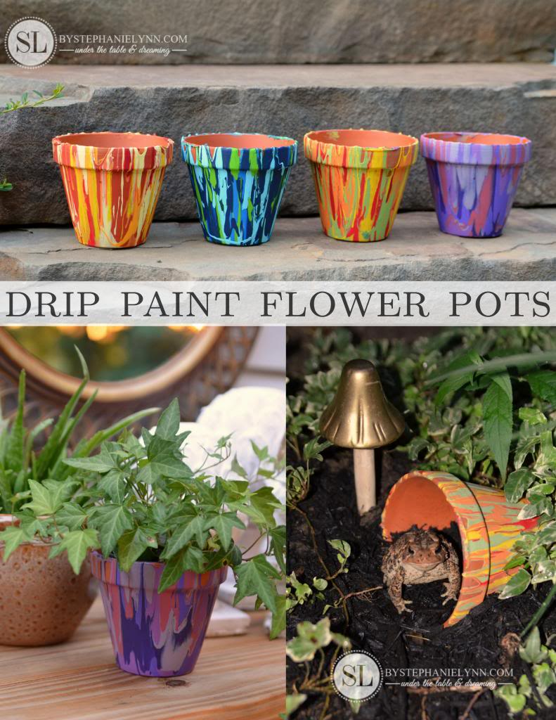 Drip paint flower pots