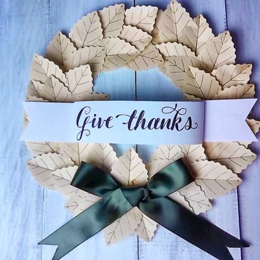 Give thanks paper wreath