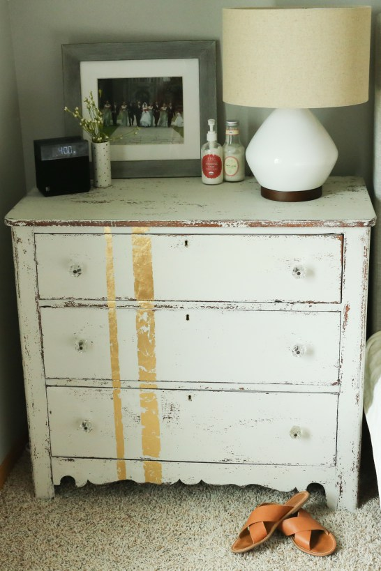 Gold leaf and white dresser makeover