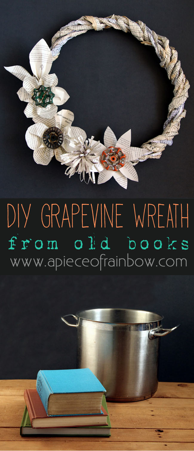 Grapevine old book wreath