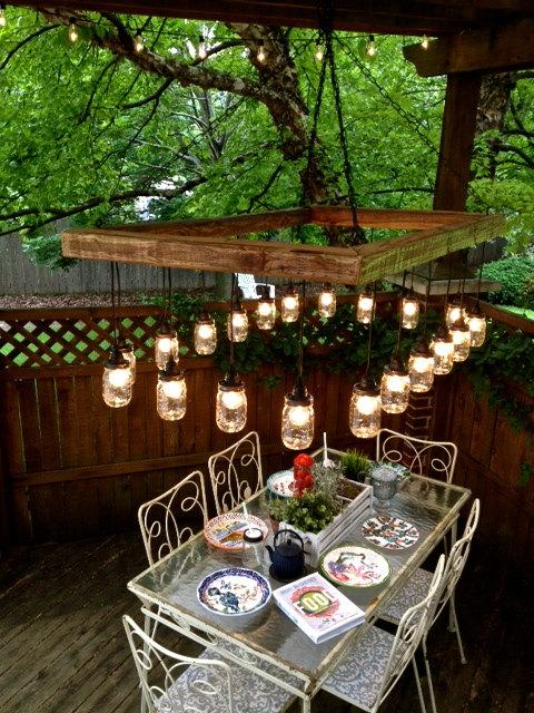 Outdoor mason jar lighting fixtures