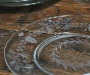 Vintage Etched Glass Dessert Plates