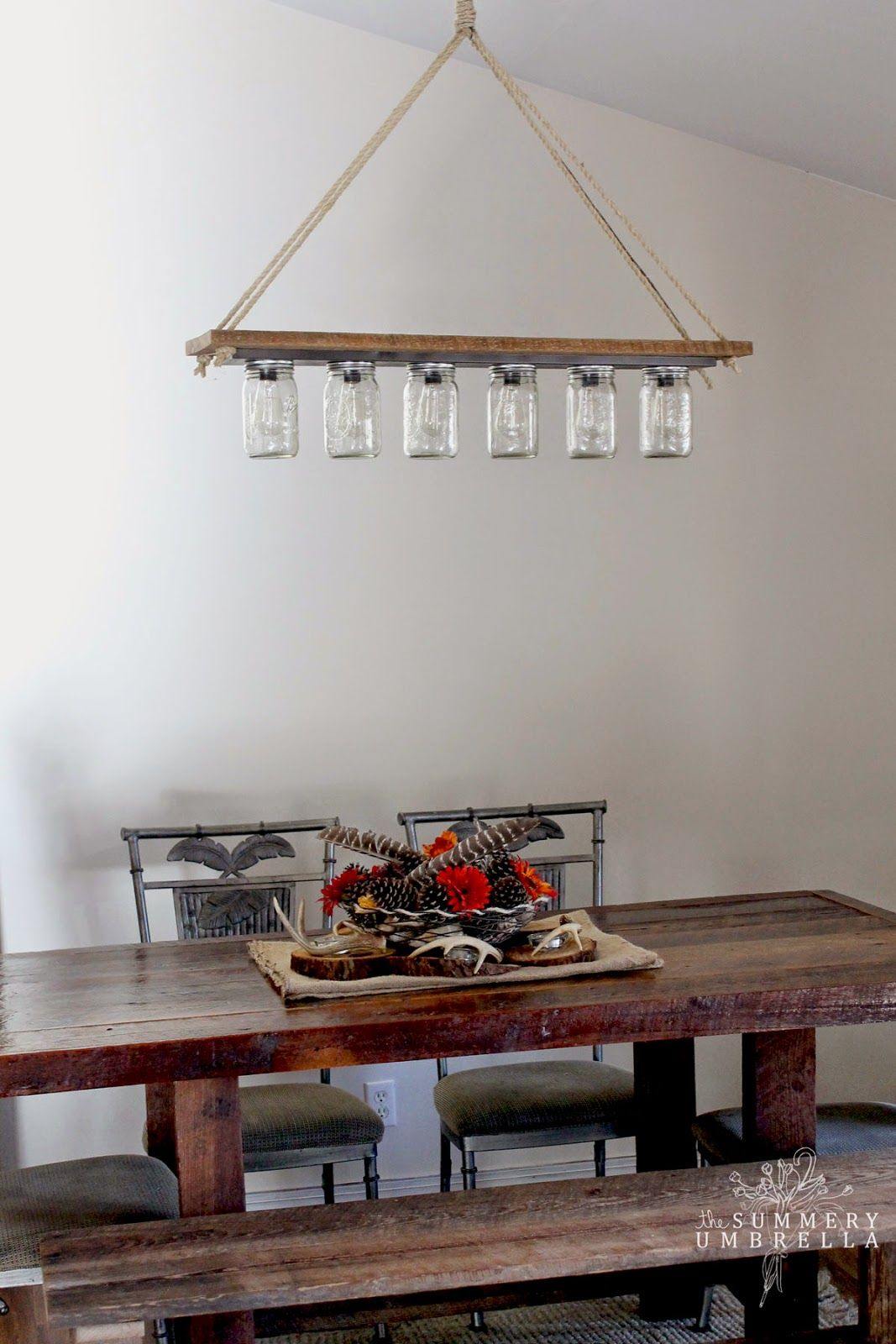 How to upcycle mason jars into a chandelier rope and mason jars create a perfect chandelier arubaitofo Gallery
