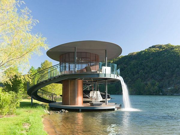 two story boat dock in lake austin. Black Bedroom Furniture Sets. Home Design Ideas