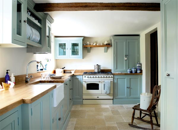 Stylish turquoise kitchen renovated by parlour farm for Period kitchen design