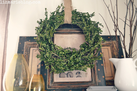 Wreath above the fireplace decor
