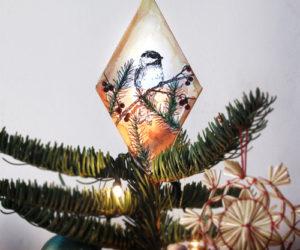 DIY chickadee tree topper decoration