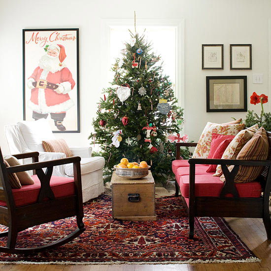 Attractive 25 Christmas Living Room Design Ideas