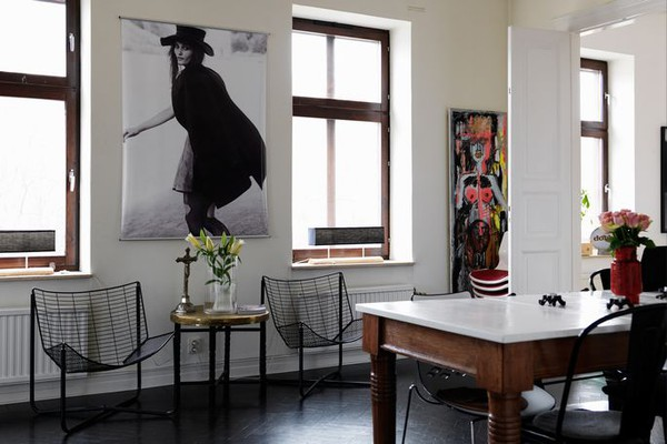Stylish Apartment With Black Floors And White Walls