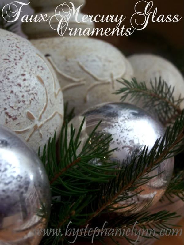 how to get faux mercury glass ornaments using paint - Mercury Glass Christmas Decorations