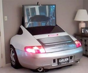 A TV stand made from a Porsche