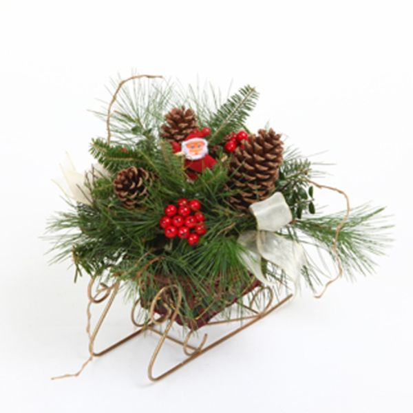 santas sleigh fresh mountain evergreens holiday centerpiece - Decorative Christmas Sleigh Large