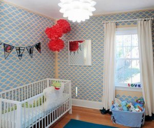 Colorful Tintin-inspired nursery room