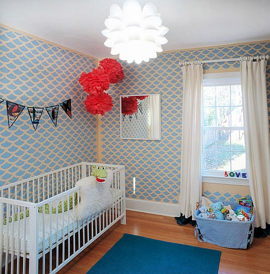 Colorful tintin inspired nursery room - Papeles infantiles para paredes ...