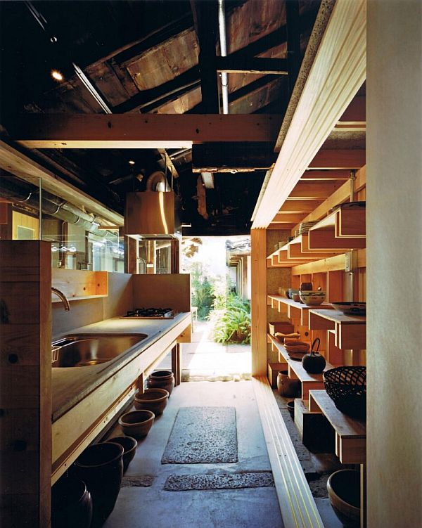 Traditional wooden town house renovation in nara japan for Japanese traditional kitchen design