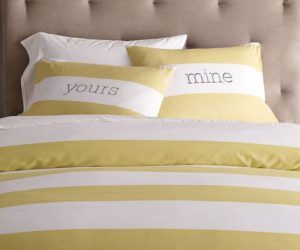 Striped Duvet Cover and Shams in White/Citron