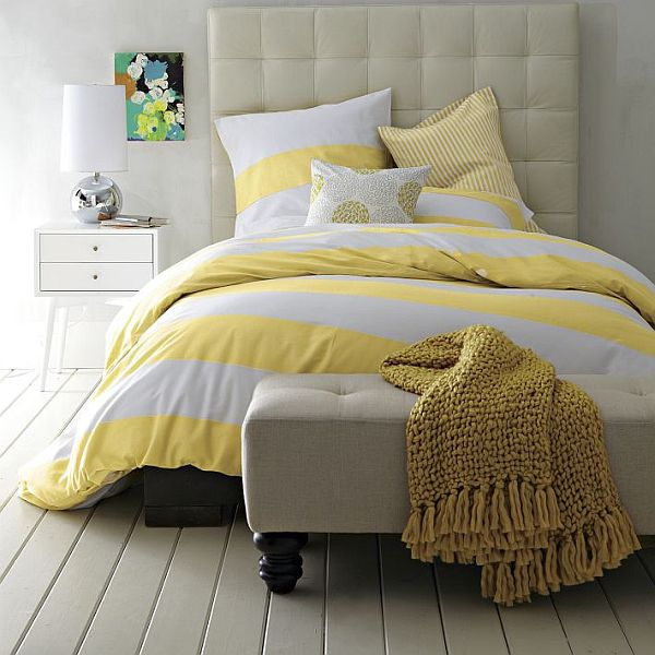 Striped Duvet Cover And Shams In White Citron