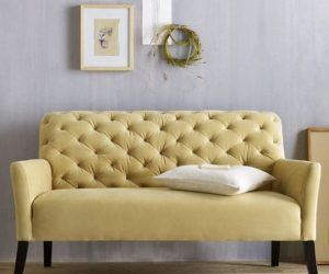 The Elton Settee Tufted Yellow Sofa